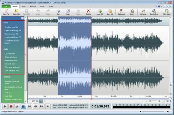 interfaccia Wavepad