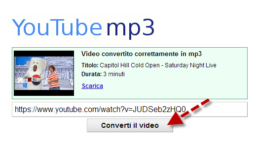 filmati da youtube e trasformarli in mp3