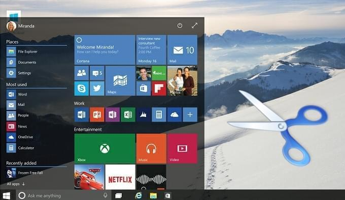 screenshot su Windows 10