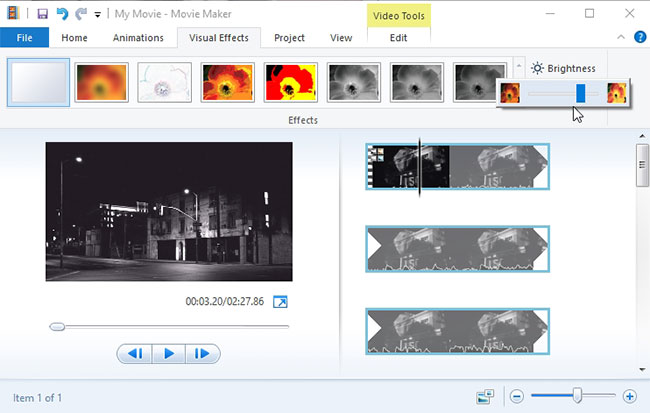 luminosità video Windows Movie Maker